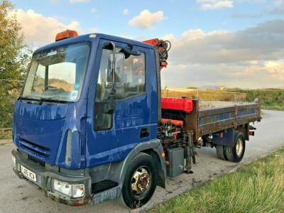 IVECO 7.5 TON TIPPER WITH HIAB CRANE WAGON LORRY TRUCK